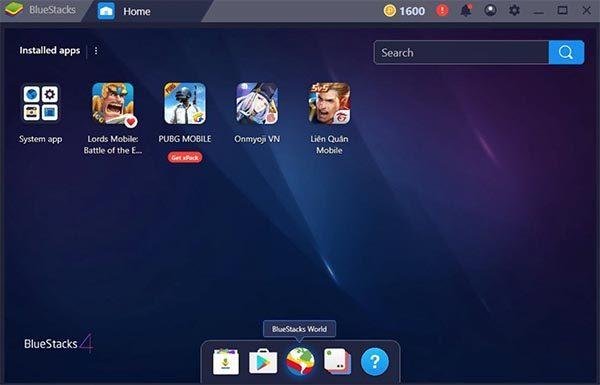 Thanh Dock phía dưới với 5 kho ứng dụng cơ bản trên BlueStacks 4