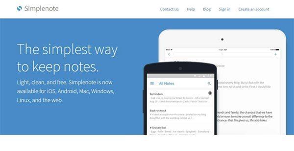 Simplenote tập trung vào nhiệm vụ chính là hỗ trợ ghi chú đơn giản và tiện lợi
