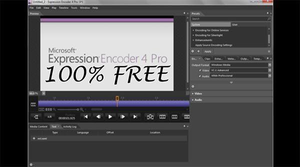 Expression Encoder hoạt động hoàn toàn miễn phí