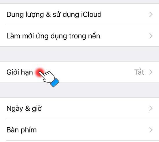 Cài đặt mật khẩu giới hạn trên iPhone (2)