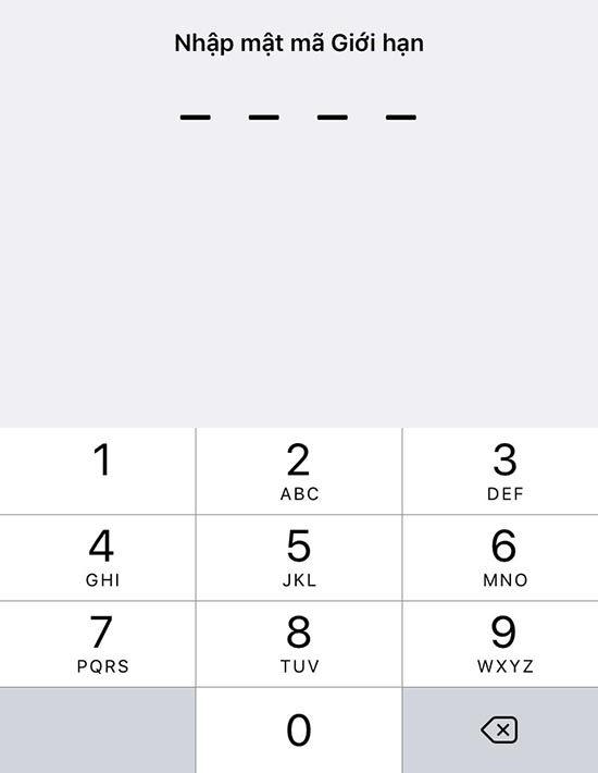 Cài đặt mật khẩu giới hạn trên iPhone (4)