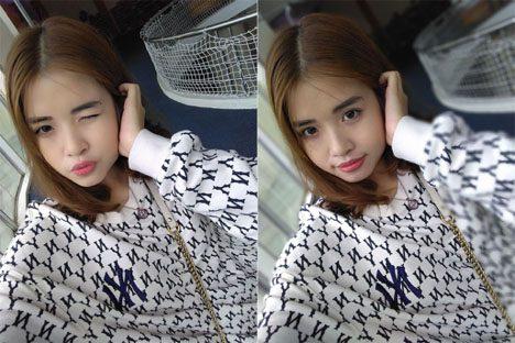 Hình ảnh chụp từ camera selfie ở chế độ bình thường và xóa phông