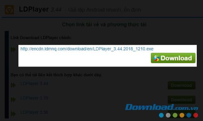 Click vào Download để tải LDPlayer