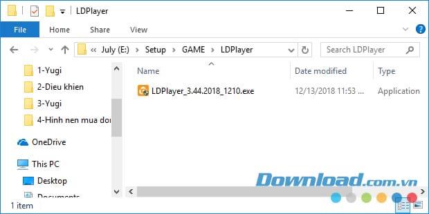 Khởi động file cài đặt LDPlayer
