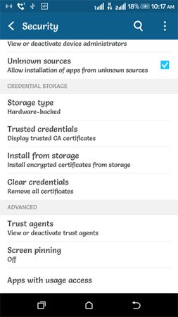 Security > Allow installations of apps from unknown sources