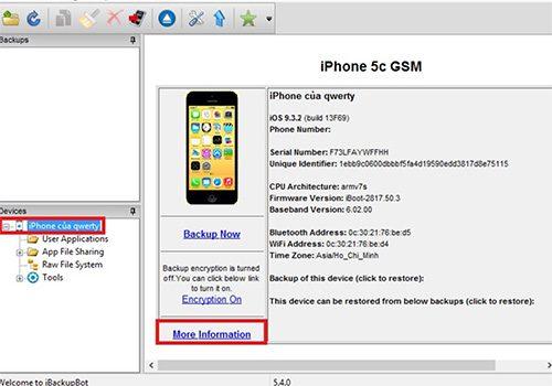 Sử dụng iBackup Bot kiểm tra độ chai pin iPhone