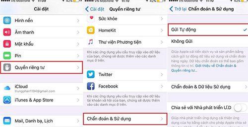 Kiểm tra trực tiếp trên iPhone