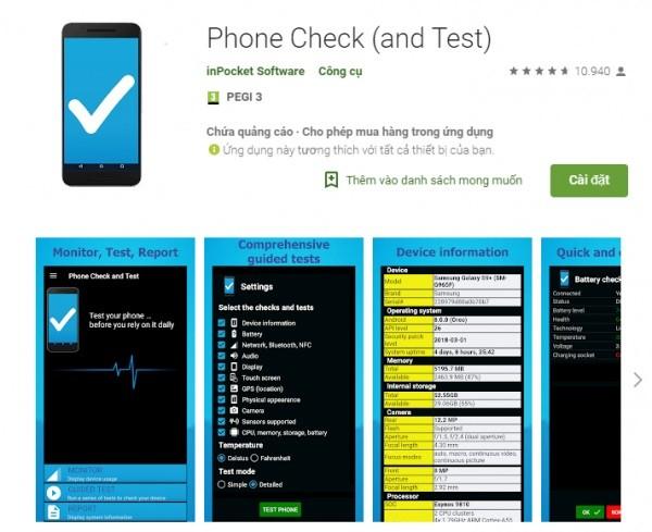 Ứng dụng Android Phone Check