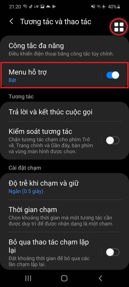 Sử dụng phím Menu hỗ trợ (Phím Home ảo trên điện thoại Samsung)
