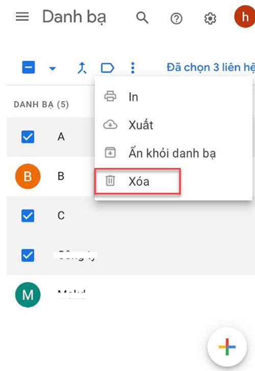 Cách xóa danh bạ trên Gmail (1)
