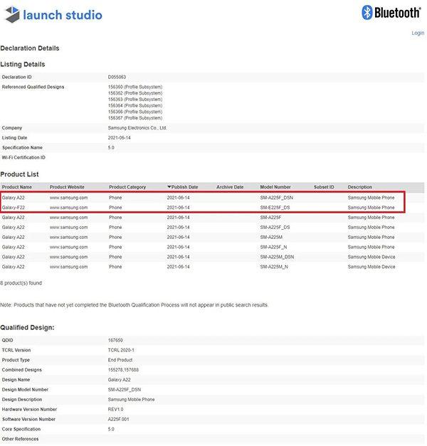 Samsung Galaxy F22 được phát hiện trên Bluetooth SIG