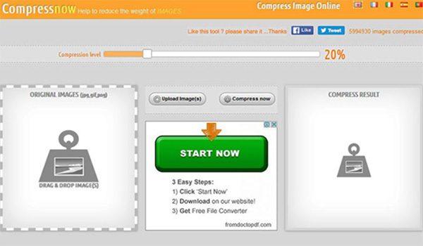 Web giảm dung lượng ảnh Compressnow