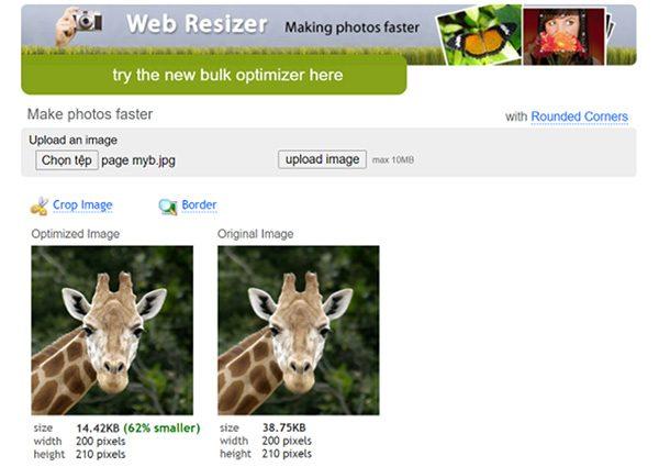 Giảm dung lượng ảnh hàng loạt Online bằng Web Resizer